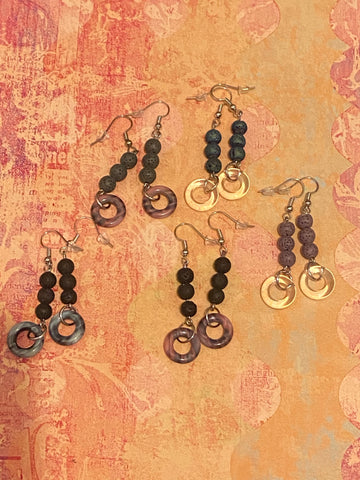Lava Stone Dangle Diffuser Earrings