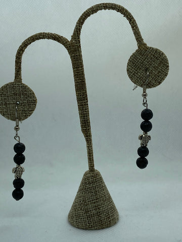 Sea Turtle and Black Lava Stone Dangle Earrings