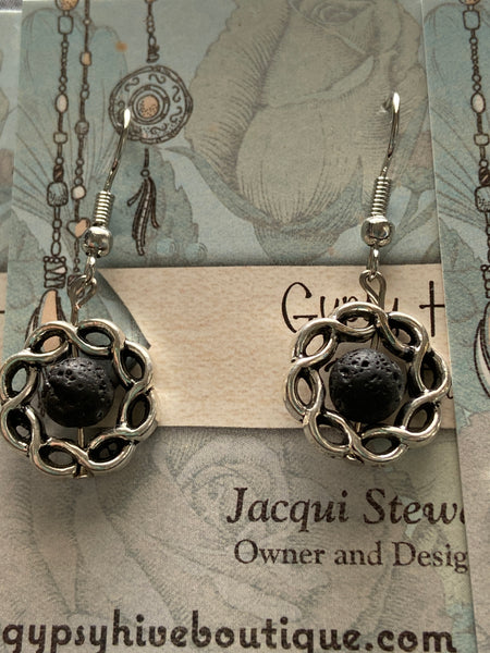 Set of Four Black Lava Stone and Silver Earrings