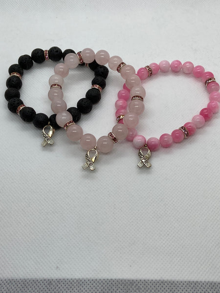 Breast Cancer Awareness Bracelets - Breast Cancer Survivor - Pink October - Lava Stone Bracelet - Pink Ribbon