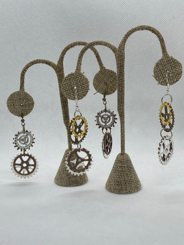 Steampunk Gears Dangle Earrings