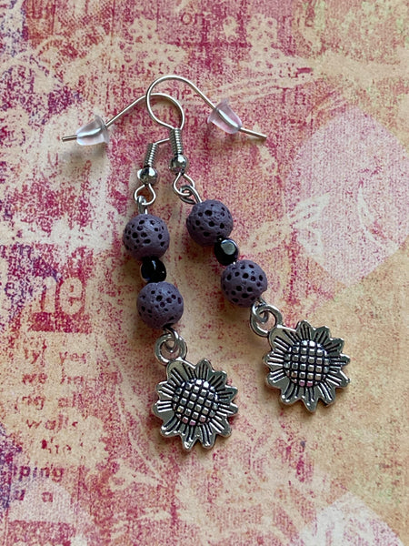 Sunflower and Lava Stone Dangle Earrings