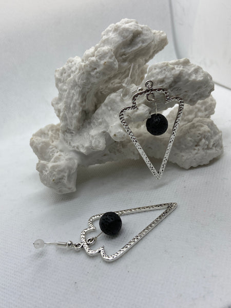 Silver Arrowhead Dangle Earring Floating Lava Stone Diffuser