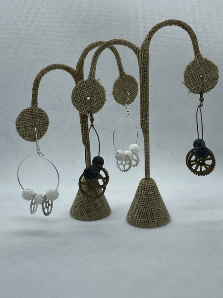 Steampunk and Lava Stone Earrings