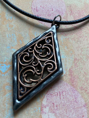 Pewter and Copper Diamond Pendant Necklace