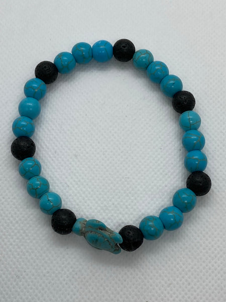 Sea Turtle Blue Turquoise and Lava Stone Elastic Bracelet