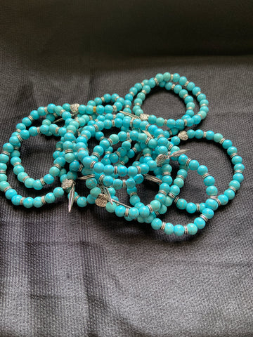 Turquoise and Silver Elastic Bracelet