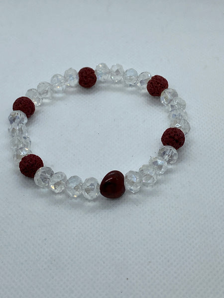 Red Heart and Clear Faceted Elastic Beaded Bracelet with Lava Stones