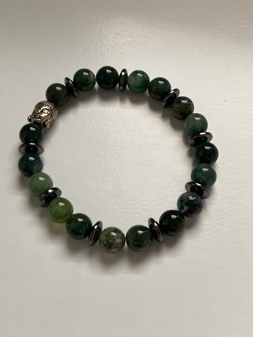 Green Agate Buddha Beaded Bracelet