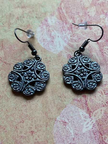 Floral Gunmetal Dangle Earrings