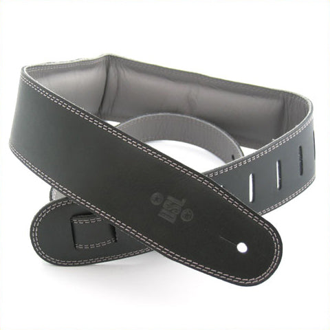 DSL 2.5 INCH BLACK/GREY PADDED LEATHER STRAP