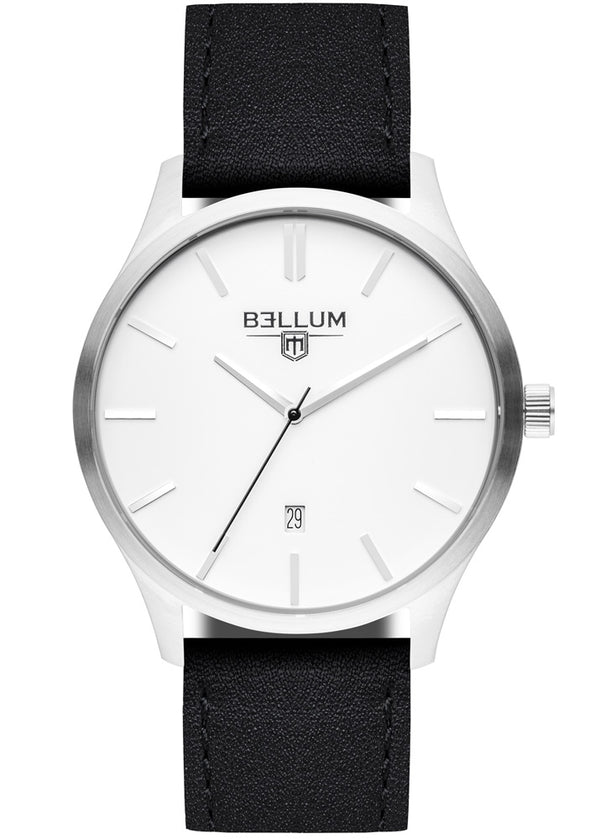 Bellum silver watch with black strap