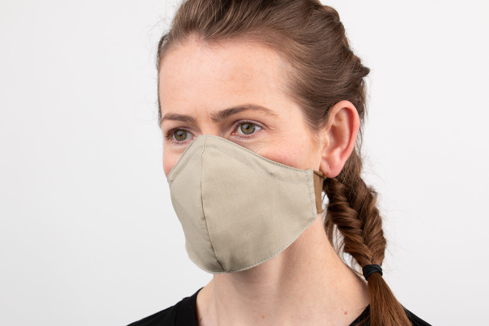 Khaki Fitted Mask with stretch knit neck band