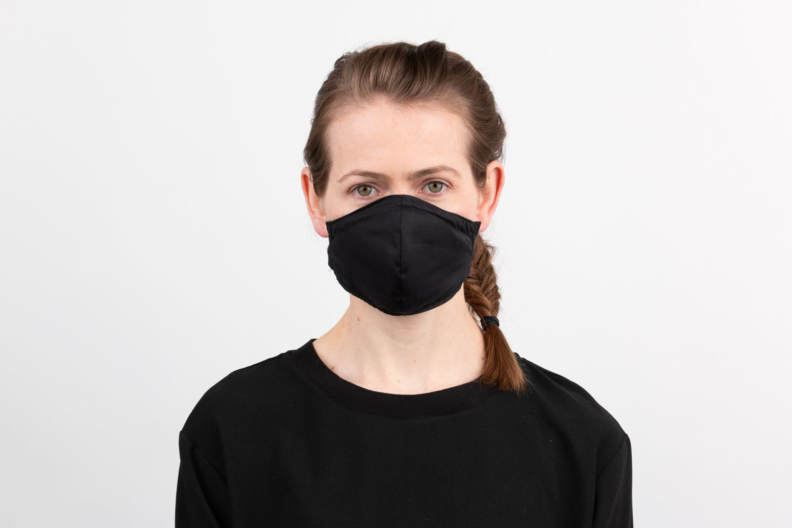 Black Fitted Mask with stretch knit neck band