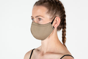 Khaki Fitted mask with spandex ear loops