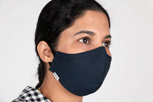 Navy Fitted mask with spandex ear loops