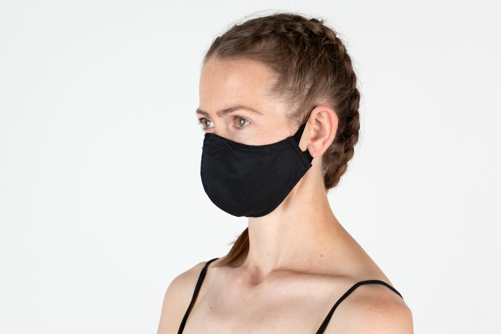 Black Fitted mask with spandex ear loops
