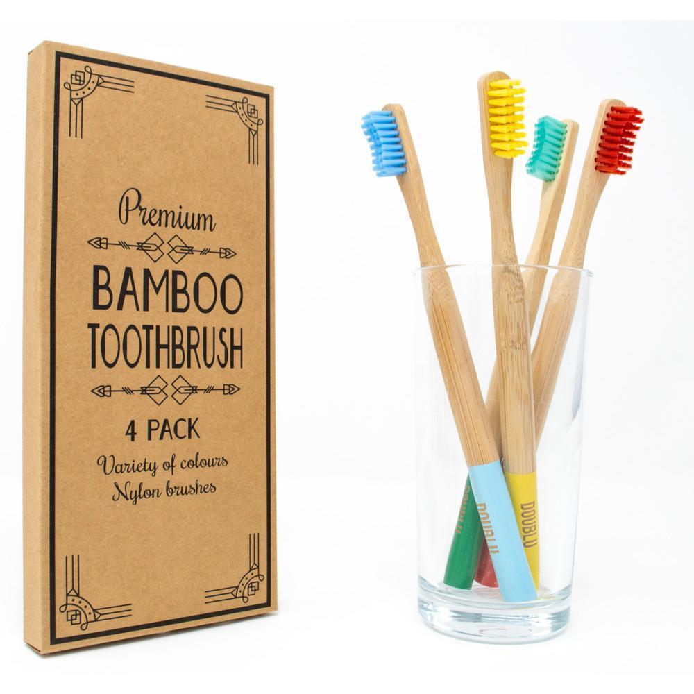 Adult Bamboo Toothbrushes - Multi Colour 4 Pack - Medium Nylon Bristles
