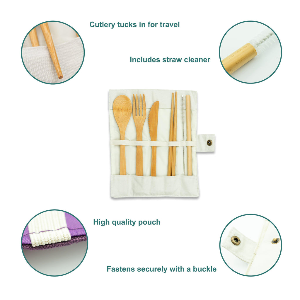 Bamboo Cutlery Travel Set Pouch - Eco Friendly Reusable Utensil Roll - Cream