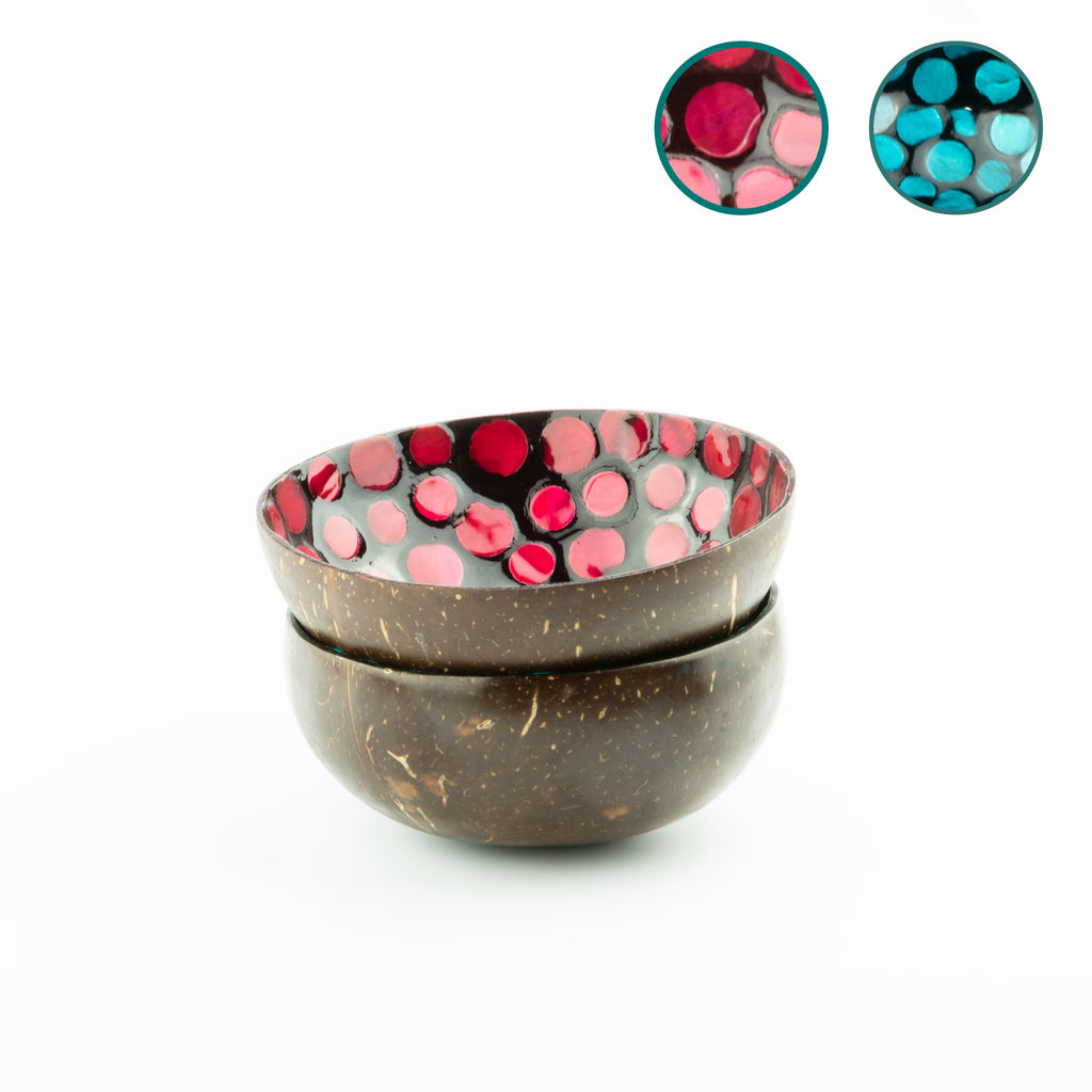 Two Handmade Decorated Coconut Bowls - Painted Berry & Teal Set