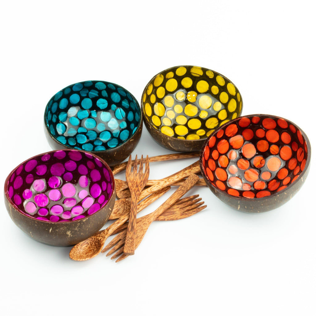 Four Handmade Decorated Coconut Bowls and Spoons Set - Painted Bowls, Forks and Spoons Multipack