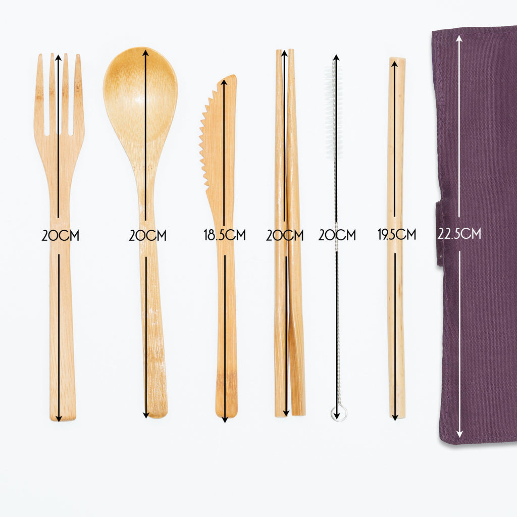 Two Bamboo Cutlery Sets - Eco Friendly Reusable Travel Rolls - Plum Purple & Cream
