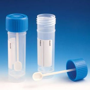 Container, Fecal, 30mL, Attached Screw Cap with Spoon, PP, Conical Bottom, Self-Standing, Attached ID Label