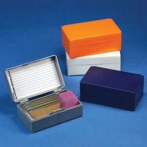 Slide Box for 12 Slides, Cork Lined, 5 Assorted Colors