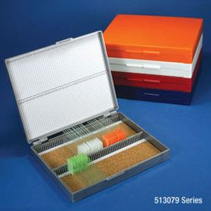 Slide Box for 100 Slides, Cork Lined, 5 Assorted Colors