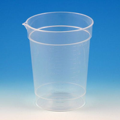 Specimen Container, 6.5oz, with Pour Spout, PP, Graduated, 25/Pack, 20 Packs/Unit