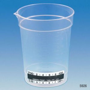 Specimen Container, 6.5oz, with Attached Thermometer Strip, Pour Spout, PP, Graduated