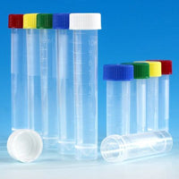 Transport Tube, 5mL, with Attached White Screw Cap, STERILE, PP, Conical Bottom, Self-Standing, Molded Graduations, 25/Bag