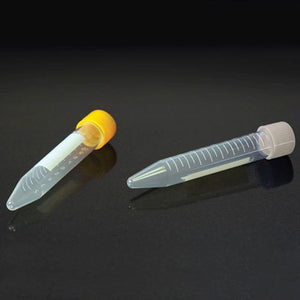 Centrifuge Tube, 10mL, with Attached Yellow PP Screw Cap, PP, Printed Graduations, STERILE