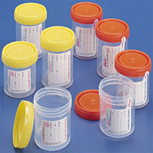 polypropylene container with yellow O-Ring cap, unlabeled, non-sterile