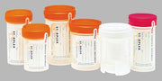 polypropylene container with orange O-Ring cap, labeled, sterile