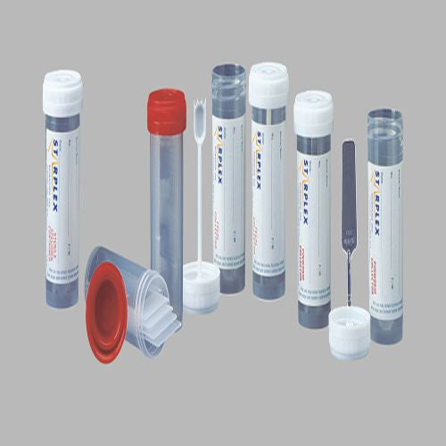 Fecal Collector: 30ml graduated polypropylene vial with white integrated fecal spork cap, labeled, non-sterile
