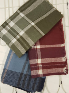Single Color Plaid Blanket Scarf
