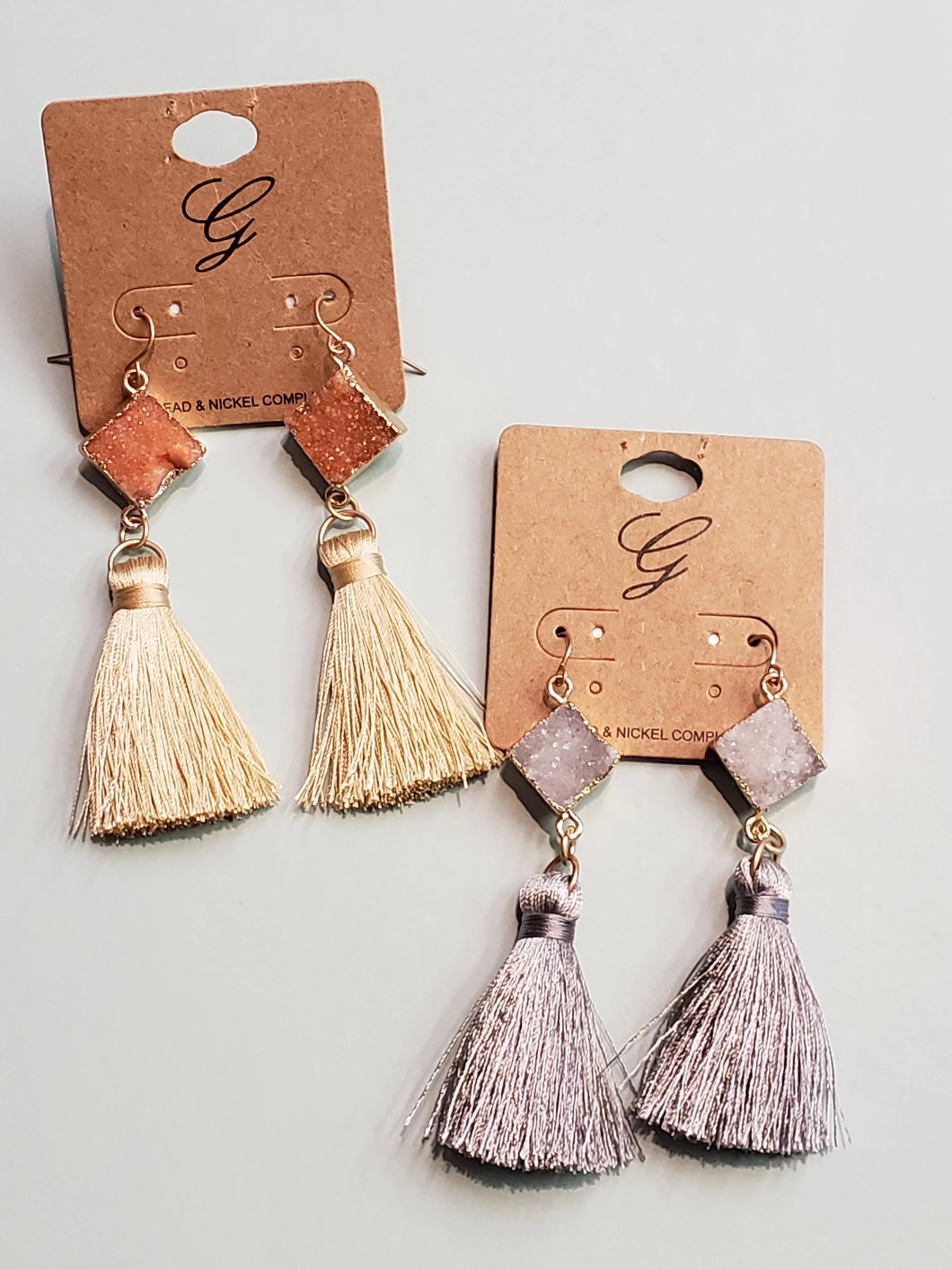 Druzy Stone + Tassel Earrings