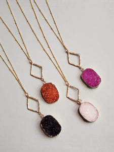 Long Druzy Stone Necklaces
