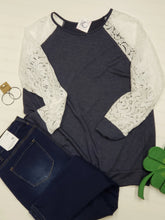 Load image into Gallery viewer, Navy & Lace Sweater
