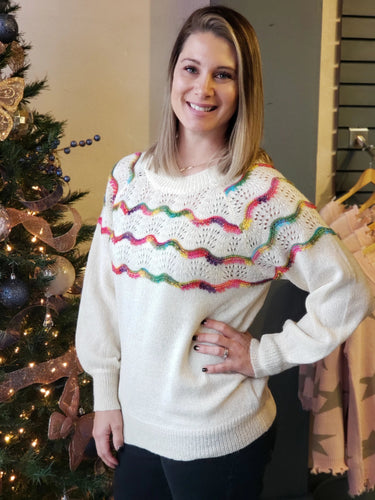 Rainbow Tie-Back Sweater