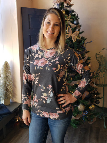 Cold Shoulder Floral Sweater