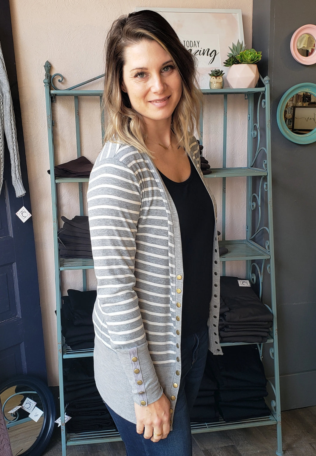 Grey Stripe Snap Cardigan