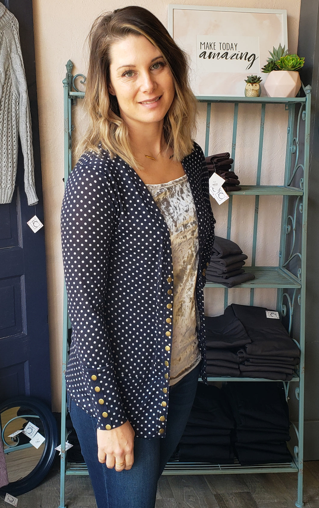Dot Snap Cardigan