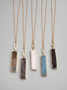 Natural Stone Bar Necklace