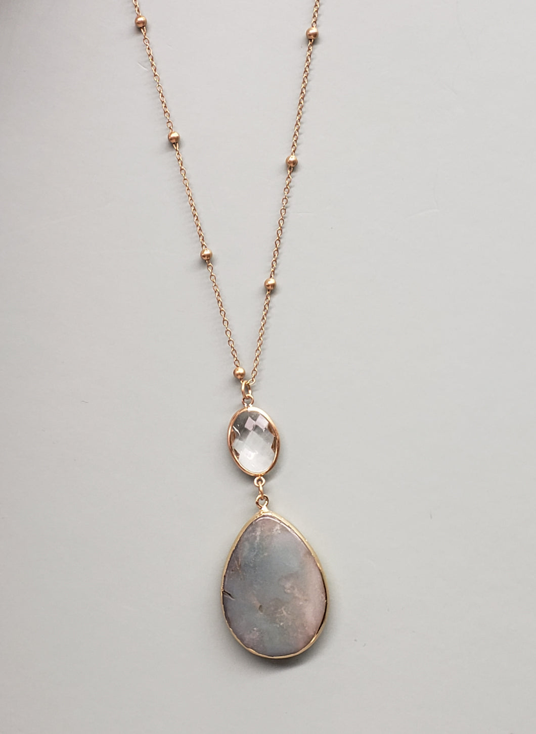 Long Amazonite Pendant necklace in Gold