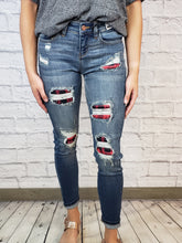Load image into Gallery viewer, Judy Blue Buffalo Plaid Patched Skinny Jeans