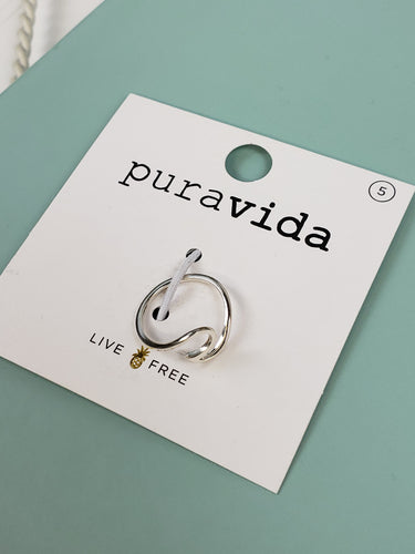PuraVida Wave Ring: Silver