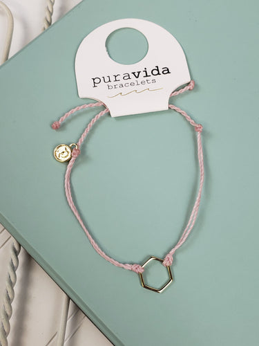 PuraVida Gold Hexagon Bracelet: Light Pink