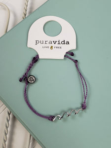 PuraVida Delicate Wave Bracelet: Light Purple